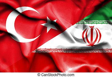 Waving flag of Iran and Turkey