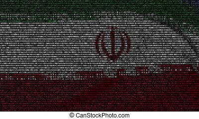 Waving flag of Iran made of text symbols on a computer...