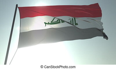 Waving flag of Iraq against shining sun and sky. Realistic loopable 3D animation