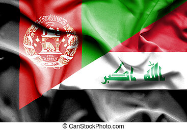 Waving flag of Iraq and Afghanistan