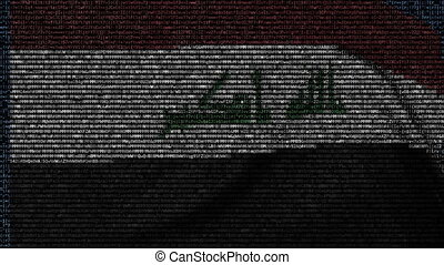 Waving flag of Iraq made of text symbols on a computer screen. Conceptual loopable animation