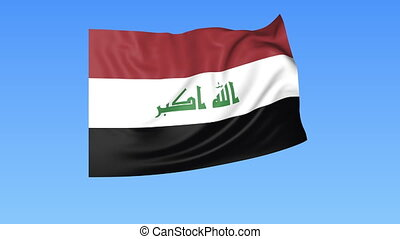 Waving flag of Iraq, seamless loop. Exact size, blue background. Part of all countries set. 4K ProRes with alpha.