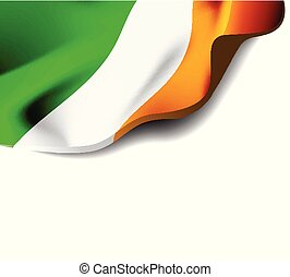 Waving flag of Ireland close-up with shadow on white background. Vector illustration with copy space