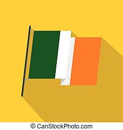 Waving flag of Ireland icon, flat style