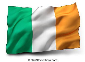 flag of Ireland - Waving flag of Ireland isolated on white ...