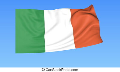 Waving flag of Ireland, seamless loop. Exact size, blue background. Part of all countries set. 4K ProRes with alpha