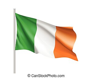 Waving flag of Ireland state. Illustration of European...