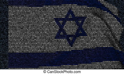 Waving flag of Israel made of text symbols on a computer...