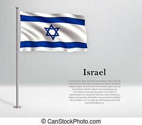 Waving flag of Israel on flagpole. Template for independence day