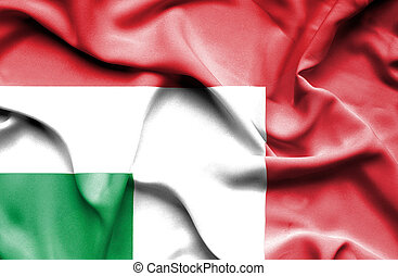 Waving flag of Italy and Hungary