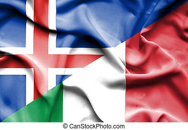 Waving flag of Italy and Iceland