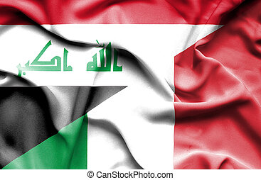 Waving flag of Italy and Iraq