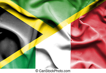 Waving flag of Italy and Jamaica