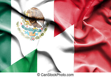 Waving flag of Italy and Mexico
