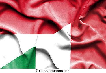 Waving flag of Italy and Monaco