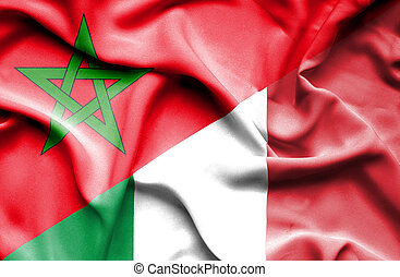 Waving flag of Italy and Morocco