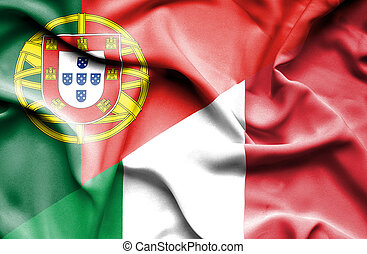 Waving flag of Italy and Portugal