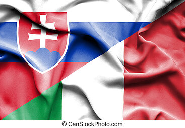 Waving flag of Italy and Slovak