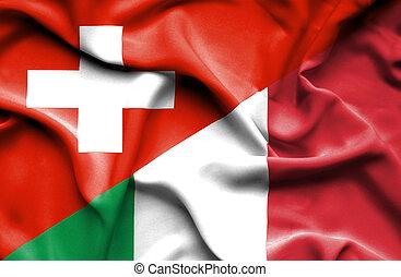 Waving flag of Italy and Switzerland