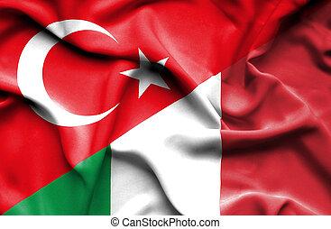 Waving flag of Italy and Turkey