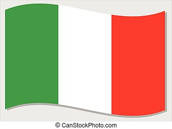 Waving flag of Italy vector graphic. Waving Italian flag illustration. Italy country flag wavin in the wind is a symbol of freedom and independence.