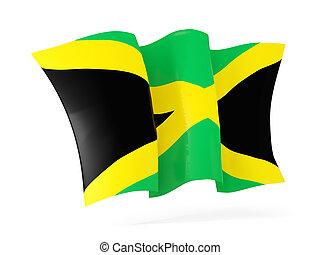 Waving flag of jamaica. 3D illustration