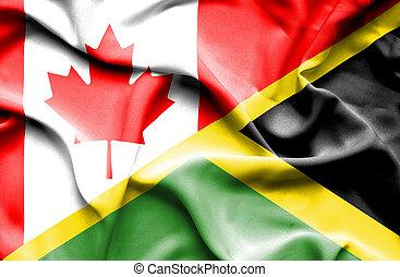 Waving flag of Jamaica and Canada