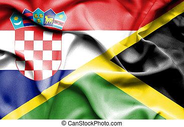 Waving flag of Jamaica and Croatia