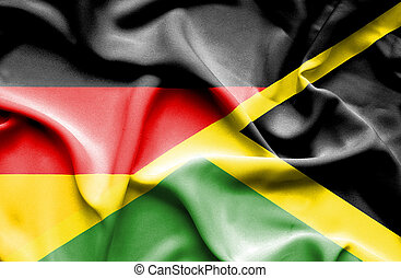 Waving flag of Jamaica and Germany