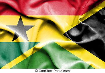 Waving flag of Jamaica and Ghana