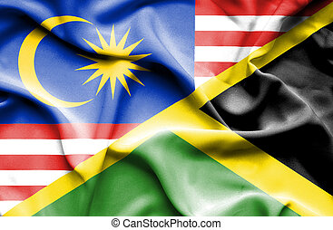 Waving flag of Jamaica and Malaysia