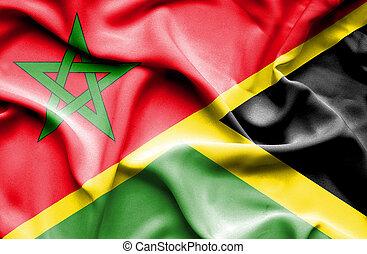 Waving flag of Jamaica and Morocco