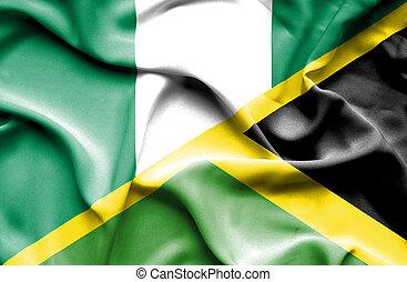 Waving flag of Jamaica and Nigeria