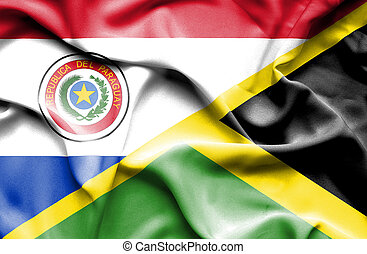 Waving flag of Jamaica and Paraguay