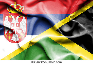 Waving flag of Jamaica and Serbia