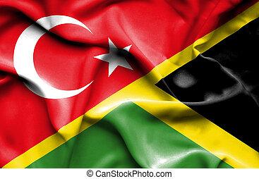 Waving flag of Jamaica and Turkey