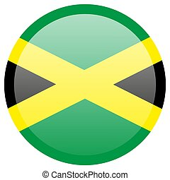Waving flag of Jamaica. Fluttering textile jamaican flag. The Cross, Black, green, and gold.