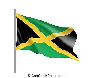 Waving flag of Jamaica