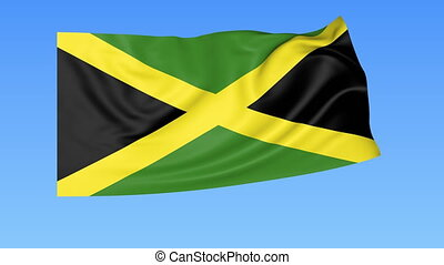Waving flag of Jamaica, seamless loop. Exact size, blue background. Part of all countries set. 4K ProRes with alpha