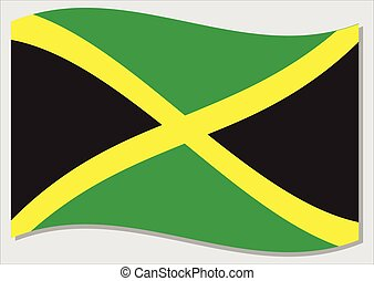 Waving flag of Jamaica vector graphic. Waving Jamaican flag illustration. Jamaica country flag wavin in the wind is a symbol of freedom and independence.