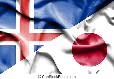 Waving flag of Japan and Iceland