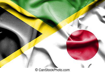 Waving flag of Japan and Jamaica