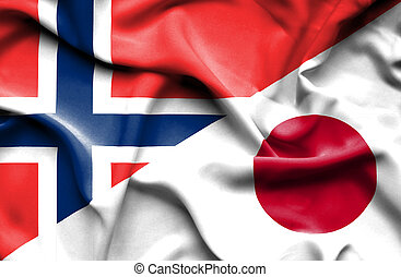 Waving flag of Japan and Norway