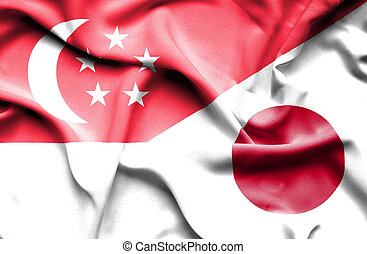 Waving flag of Japan and Singapore