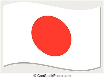 Waving flag of Japan vector graphic. Waving Japanese flag illustration. Japan country flag wavin in the wind is a symbol of freedom and independence.