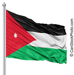 Waving flag of Jordan - Flag of Jordan with flagpole waving...