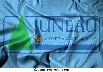 Waving Flag of Juneau, Alaska, USA