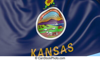Waving flag of Kansas state against blue sky. Seamless loop