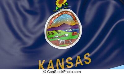 Waving flag of Kansas state against blue sky. Seamless loop