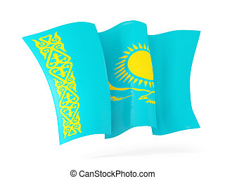 Waving flag of kazakhstan. 3D illustration
